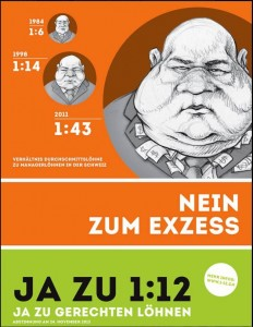 A 1:12 campaign flyer that traces Switzerland's growing divide between average worker and CEO compensation